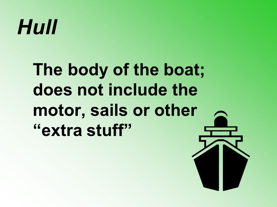 Hull The body of the boat; does not include the motor, sails or other extra stuff