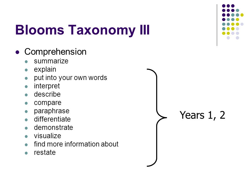 summarize bloom s taxonomy Bloom's taxonomy is a powerful tool to help describe, explain, paraphrase, restate, give original examples of, summarize how bloom's works with.