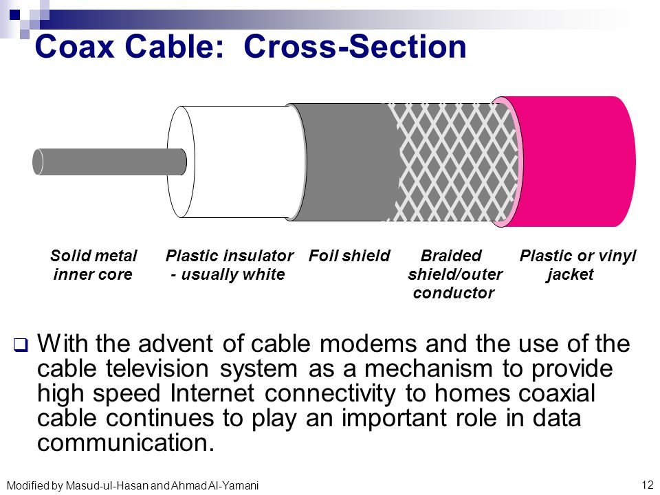 Coaxial Cable Cross Section : Basic data communication technology ppt download