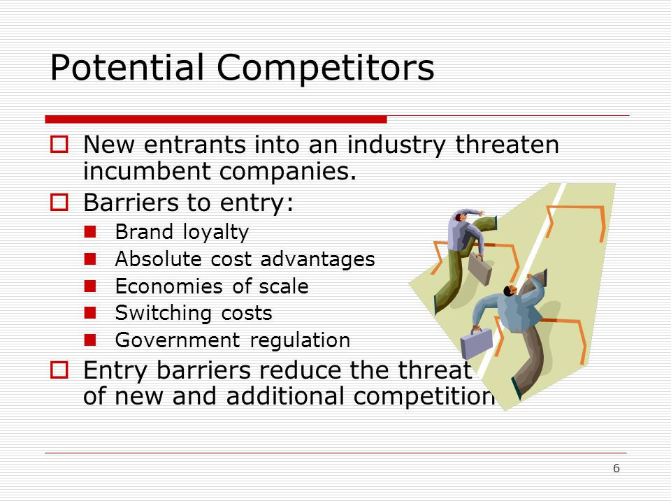 risk of entry by potential competitors Competitive effects and potential competition mergers  it can prevent the actual increased competition that would result from the firm's entry.