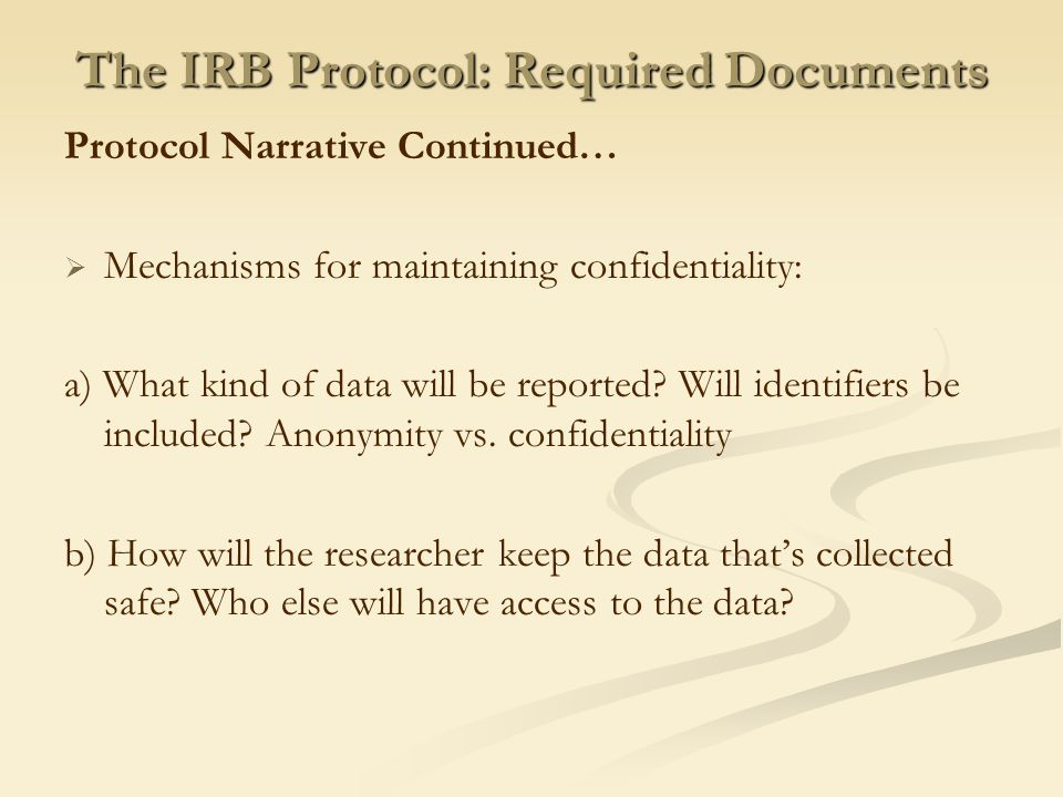 The IRB Protocol: Required Documents