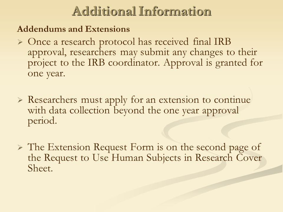 IRB Procedures and Timelines