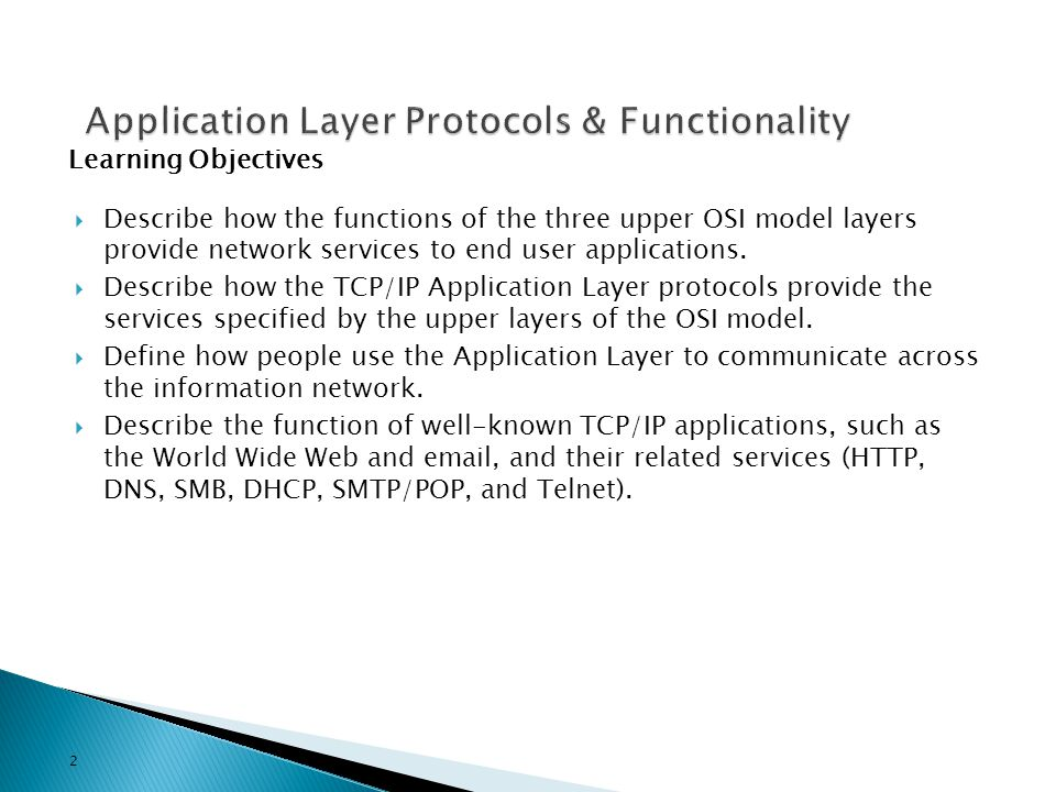 Application Layer Protocols & Functionality