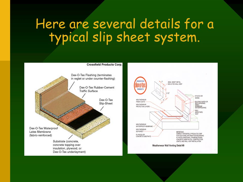Here are several details for a typical slip sheet system.