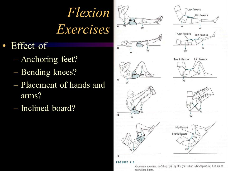 Flexion Exercises Effect of Anchoring feet Bending knees