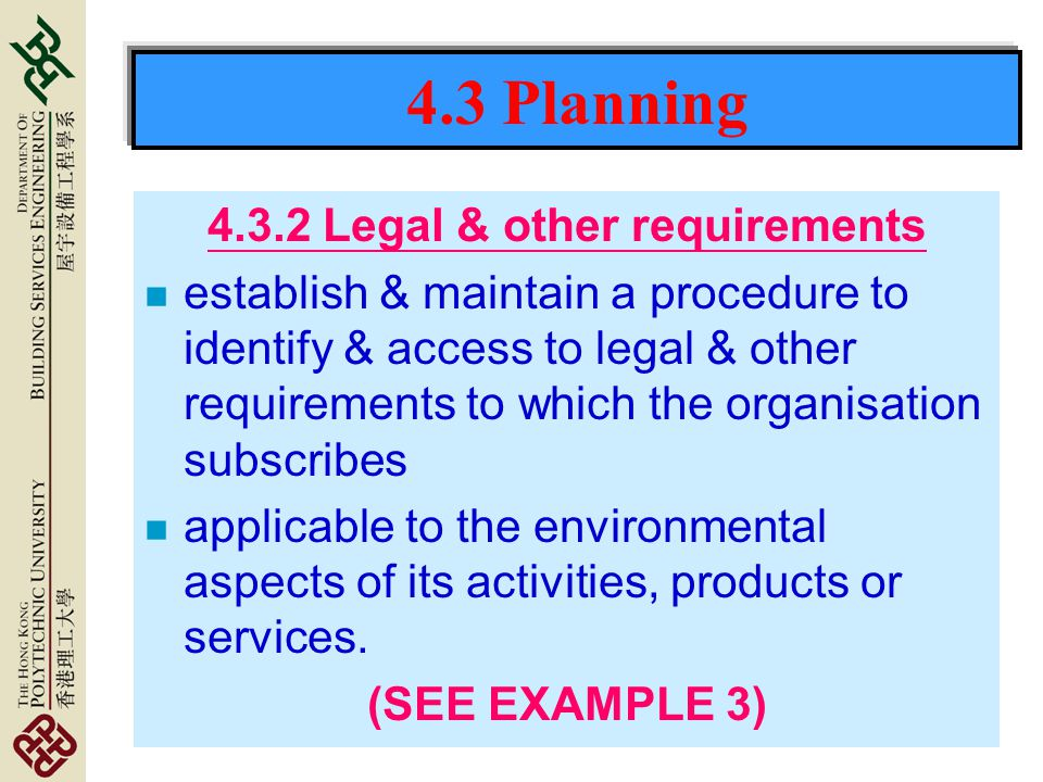 4.3.2 Legal & other requirements