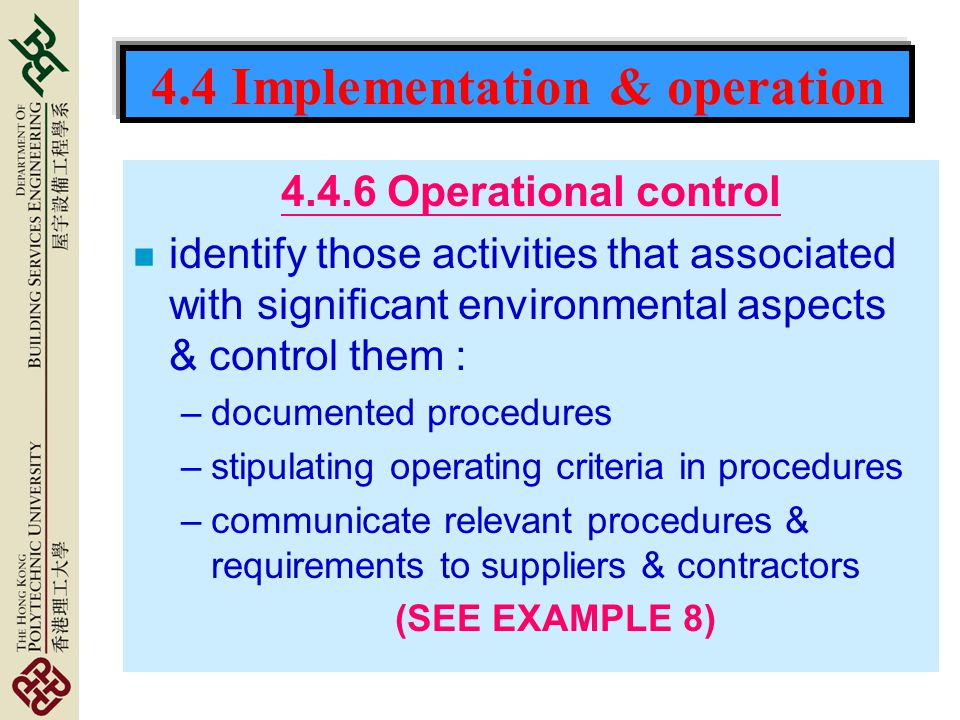 4.4 Implementation & operation