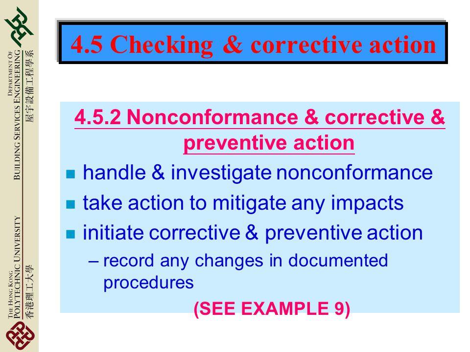 4.5 Checking & corrective action