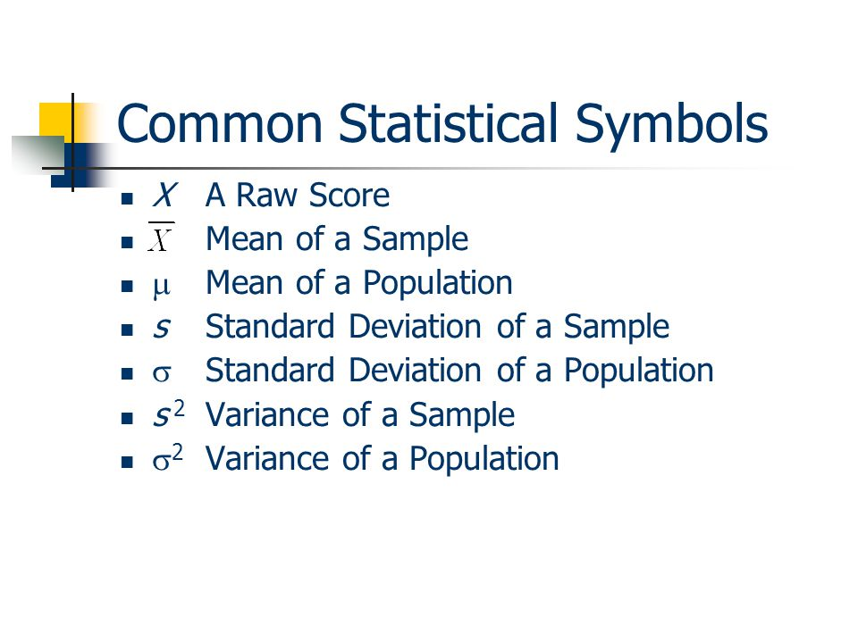 Common Statistical Symbols