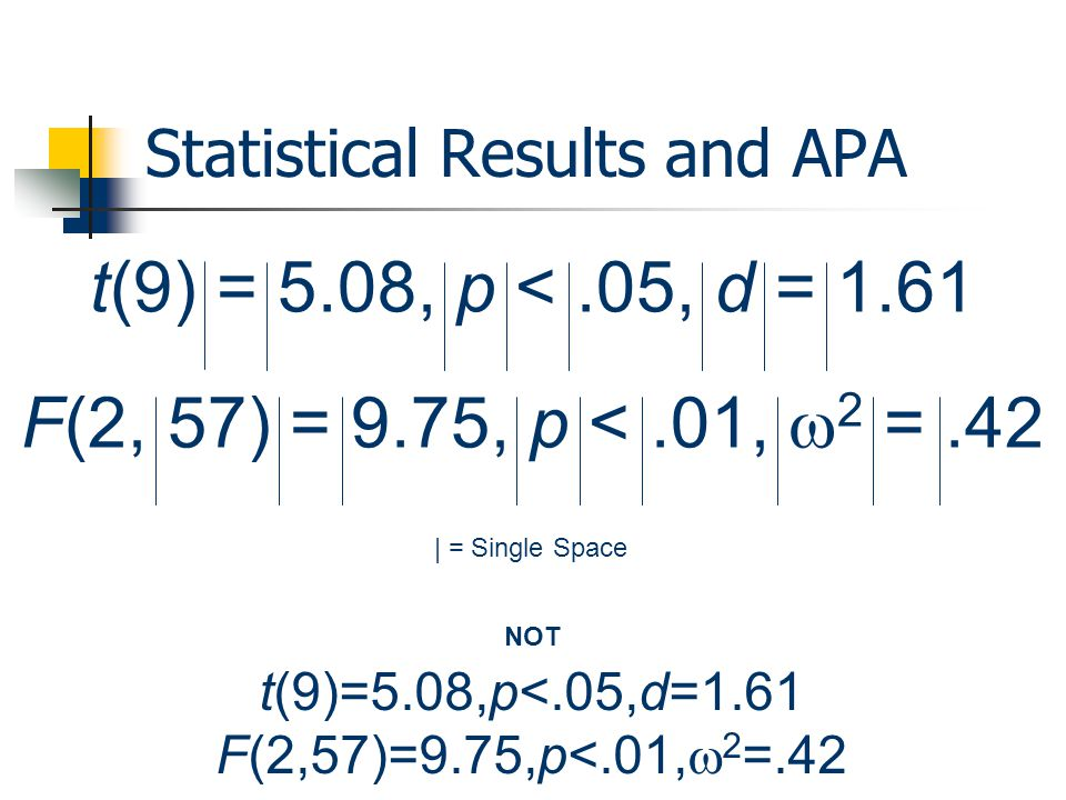 Statistical Results and APA