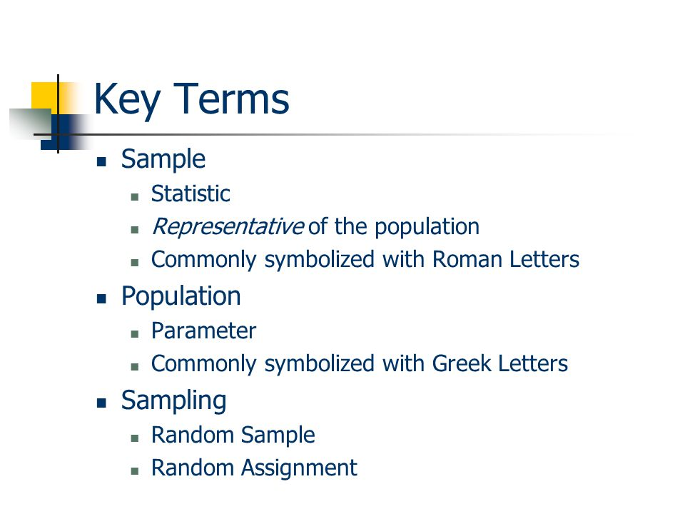 Key Terms Sample Population Sampling Statistic