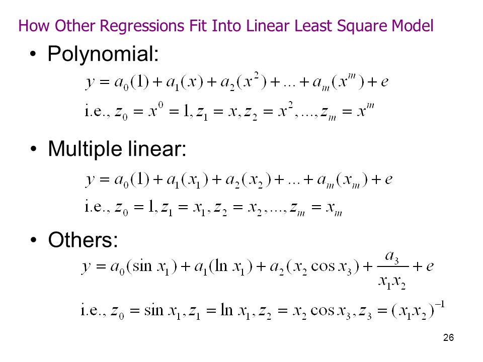 How Other Regressions Fit Into Linear Least Square Model