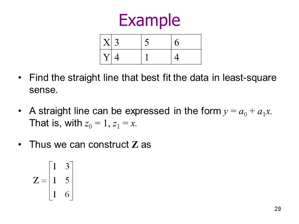 Example X Y Find the straight line that best fit the data in least-square sense.