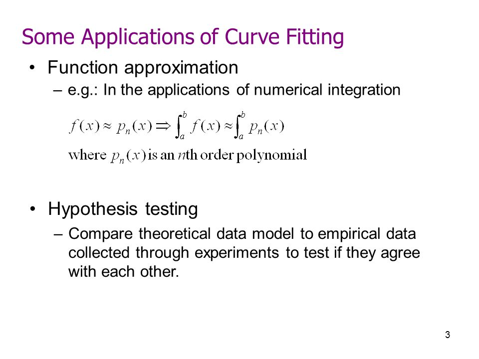 Some Applications of Curve Fitting
