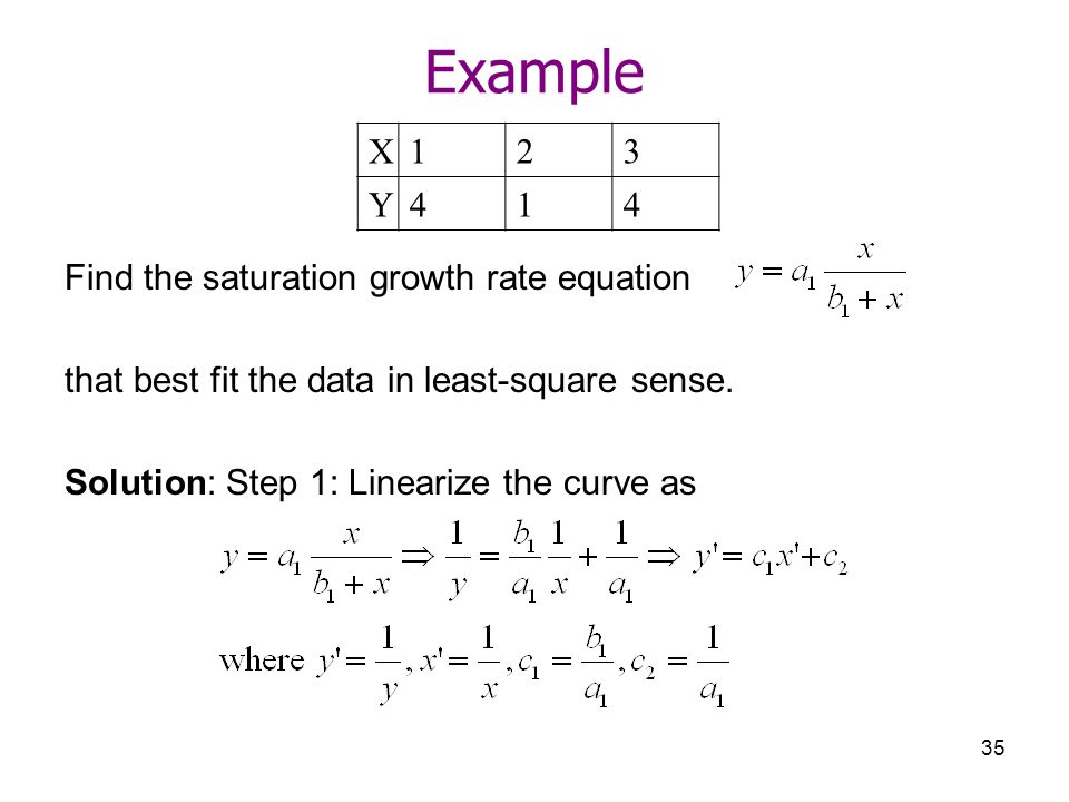 Example X Y 4 Find the saturation growth rate equation