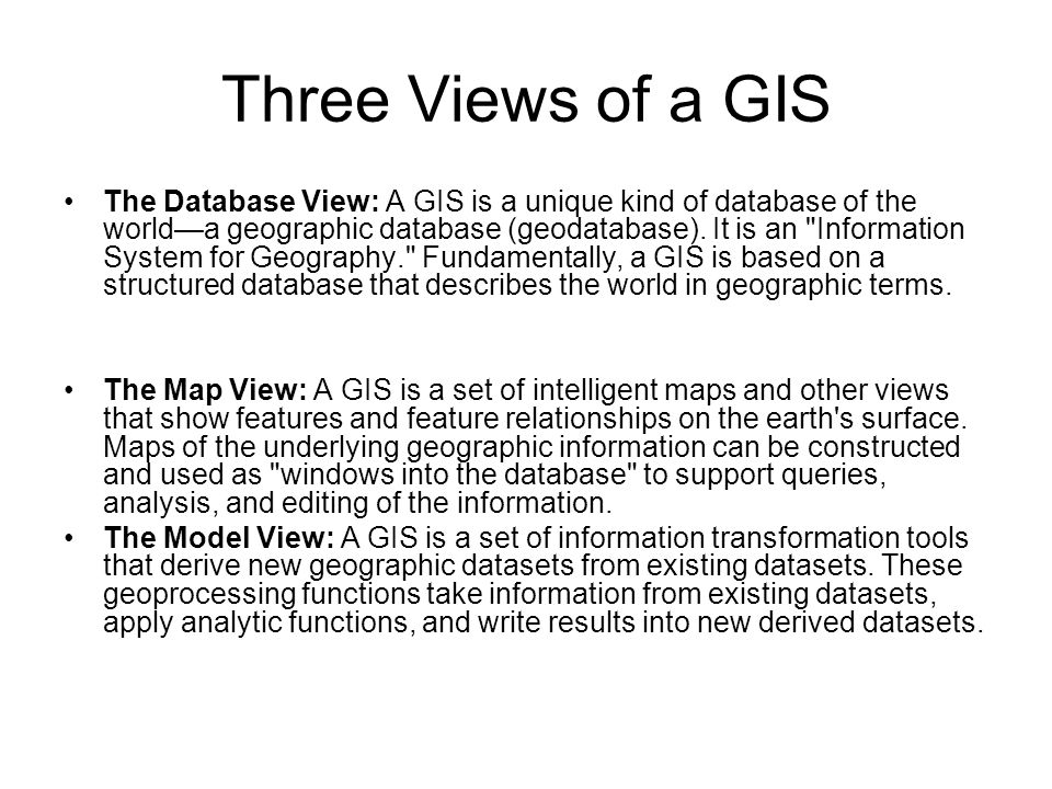 Three Views of a GIS
