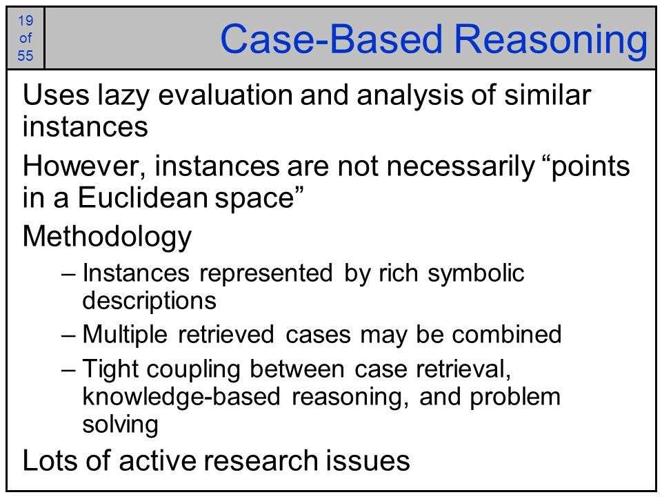 case based reasoning for classification problem Keywords: morphological classification, case-based reasoning (cbr), morphotypes, size table  the problem description are the various images of the scan, the solution is the morphological.