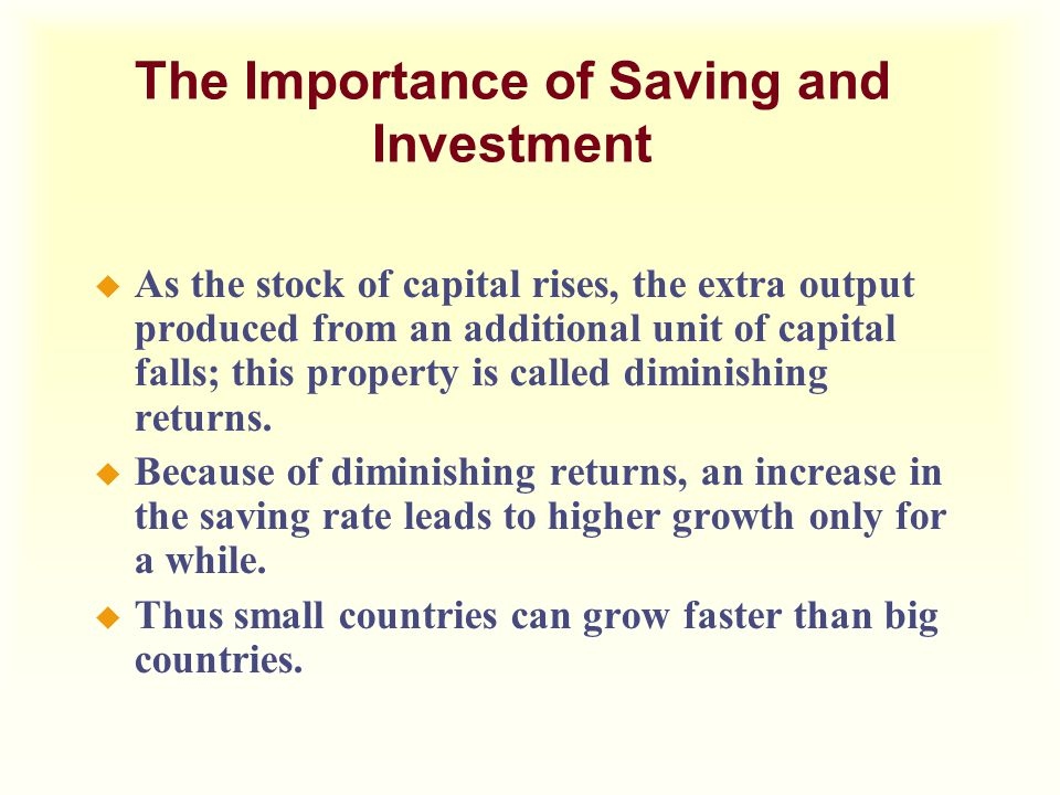 The Importance of Saving and Investment