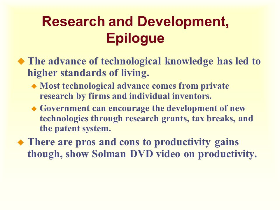 Research and Development, Epilogue
