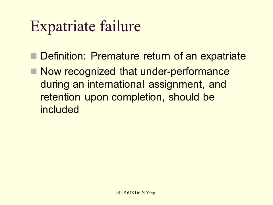 6 Expatriate Failure Definition: ...