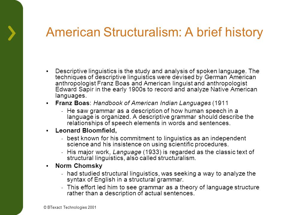 American Structuralism: A brief history