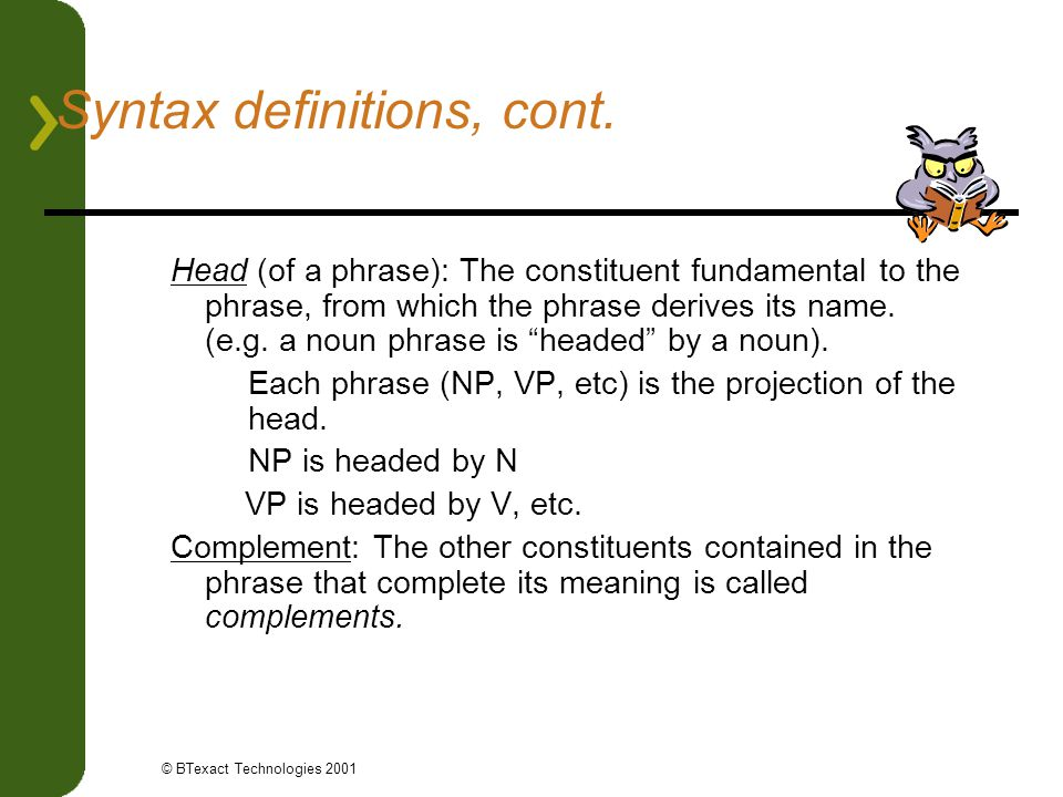 Syntax definitions, cont.