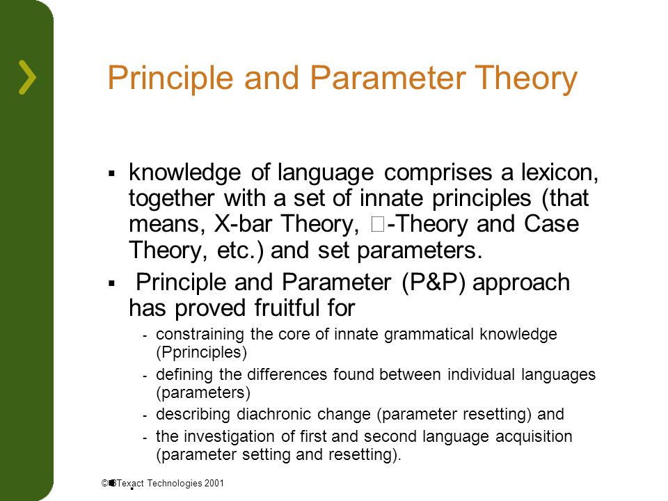 Principle and Parameter Theory