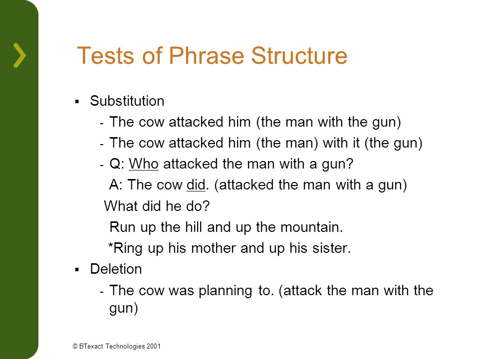 Tests of Phrase Structure