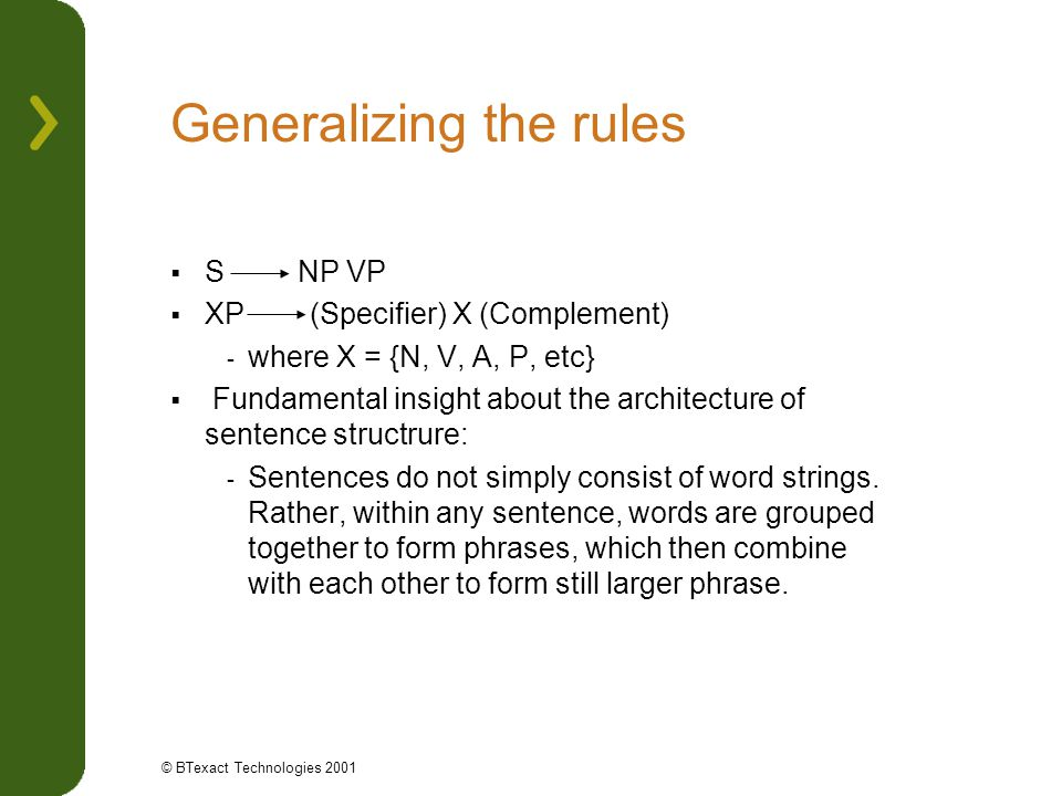 Generalizing the rules