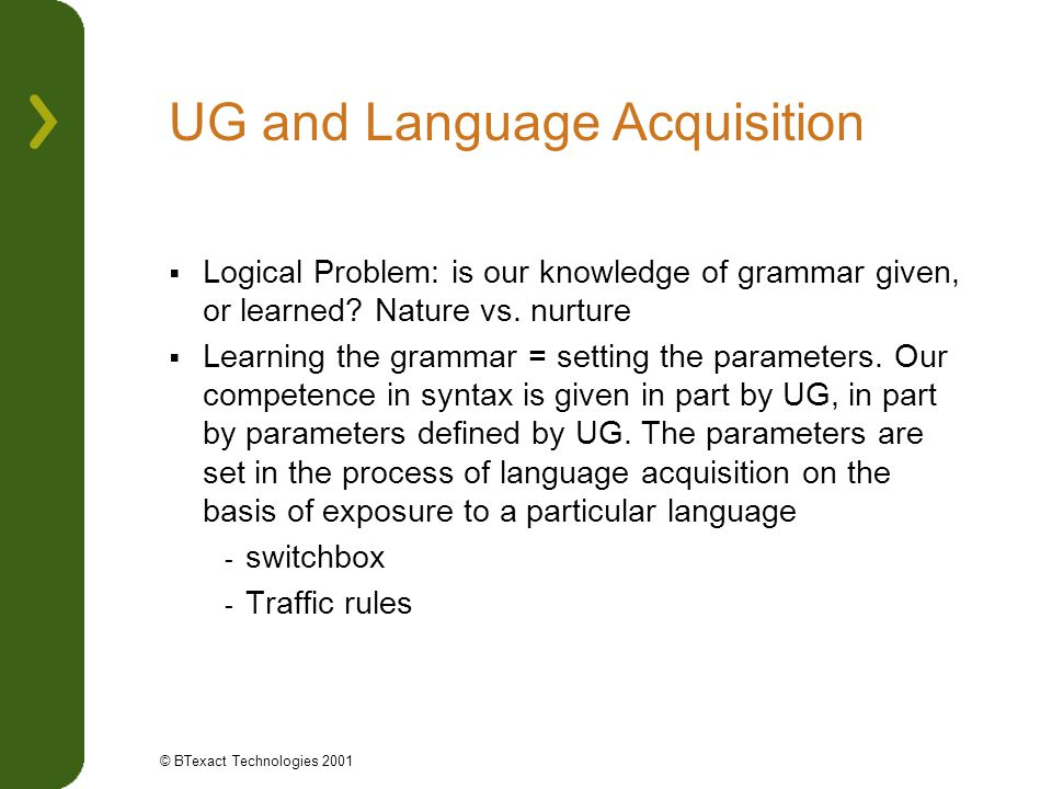 UG and Language Acquisition