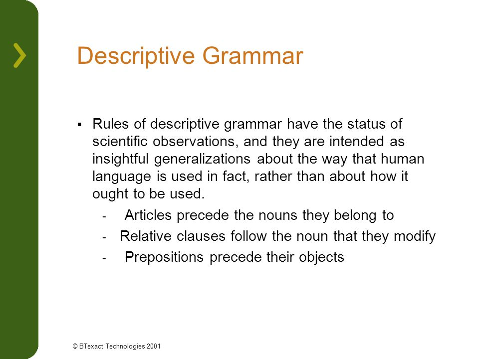 Descriptive Grammar