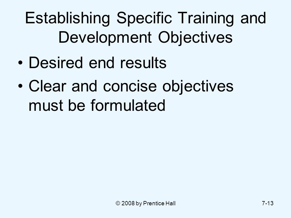 Establishing Specific Training and Development Objectives