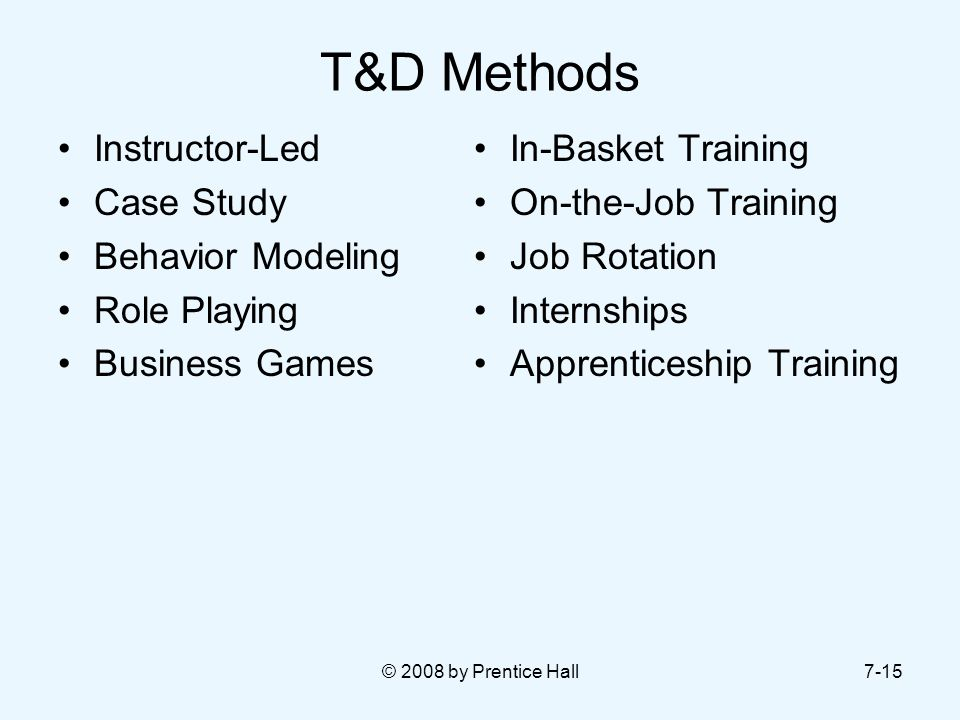 T&D Methods Instructor-Led Case Study Behavior Modeling Role Playing