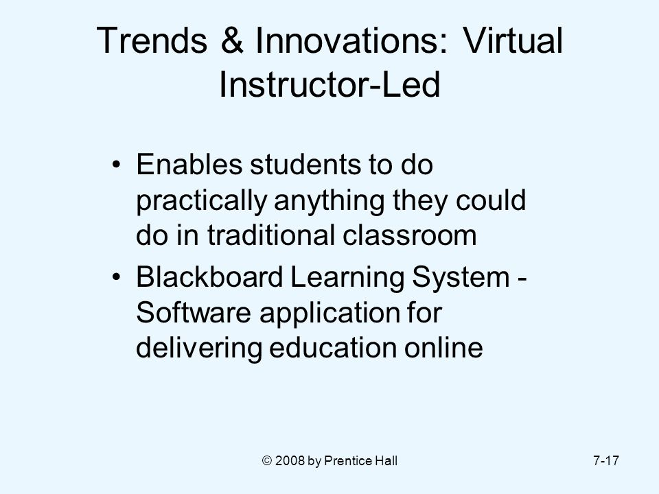 Trends & Innovations: Virtual Instructor-Led
