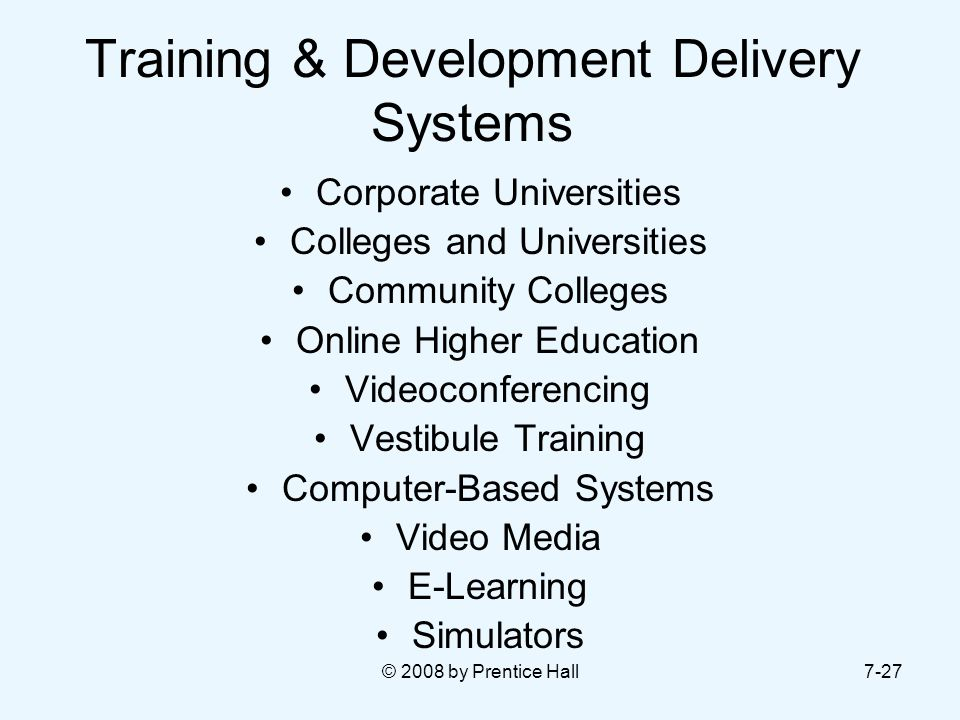 Training & Development Delivery Systems