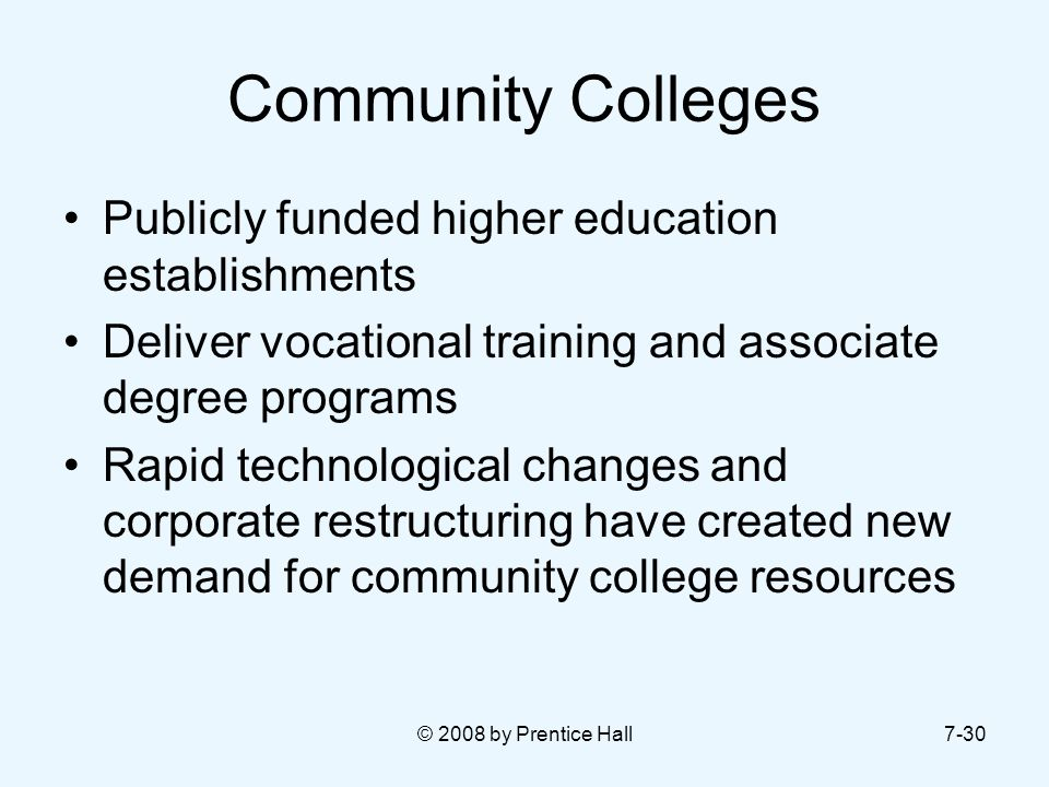 Community Colleges Publicly funded higher education establishments