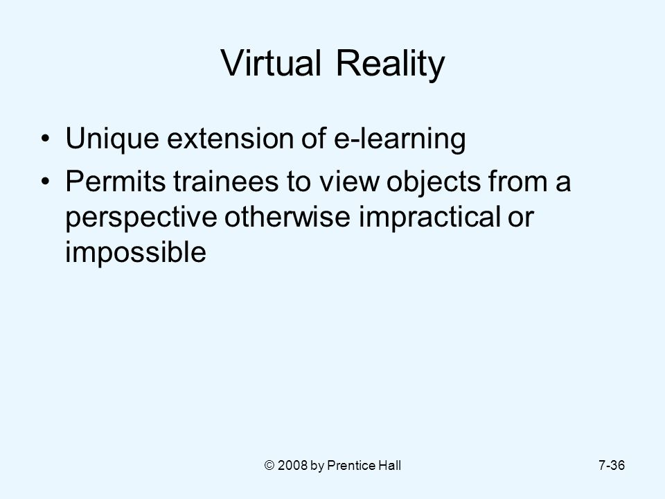 Virtual Reality Unique extension of e-learning