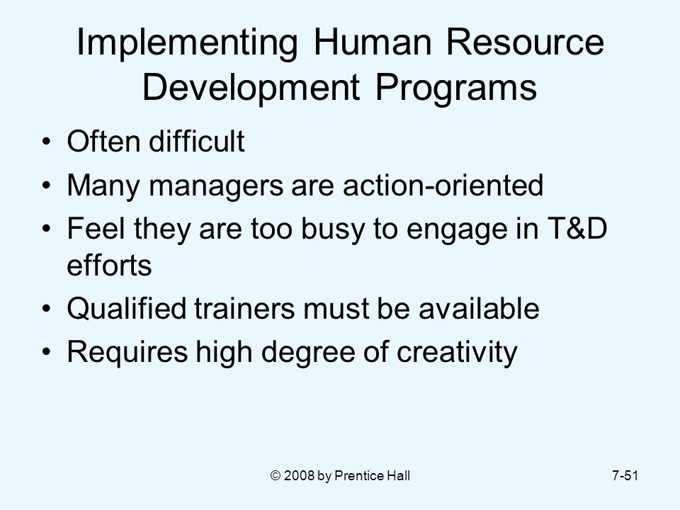Implementing Human Resource Development Programs