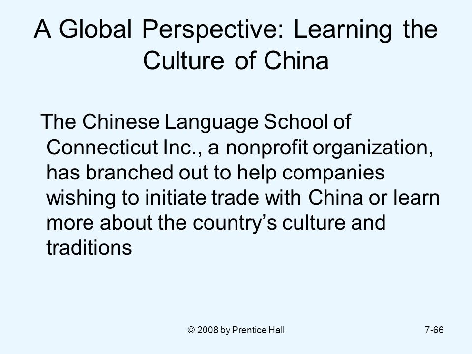 A Global Perspective: Learning the Culture of China
