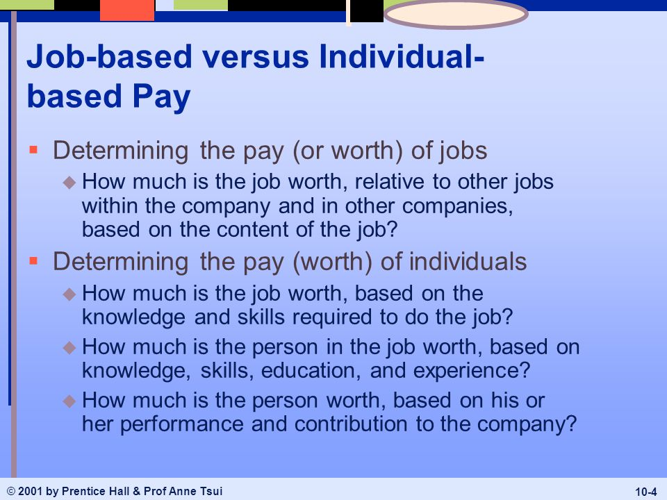 person based pay vs job based pay Important to change the pay system in a team-based work environment rather  than have the team work around an ineffective pay  quantifiable vs soft team   to say that job-based pay solutions may be superior to skill-based pay  solutions.