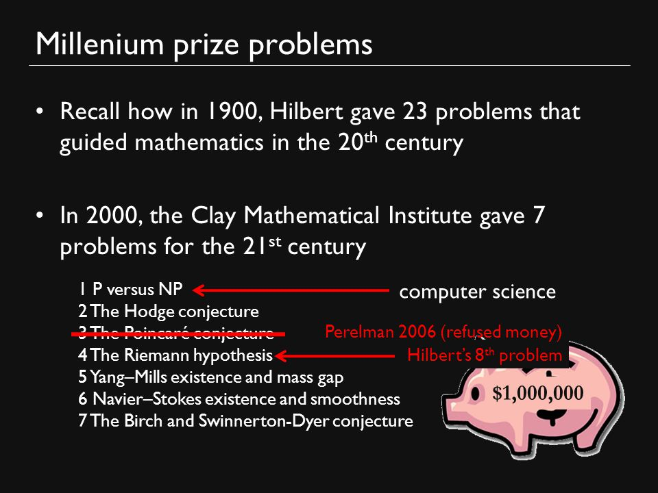 millenium math problems We look at problems puzzled some of the world's brightest for  recognized the  puzzle as one of the 7 millennium prize problems, and offered.