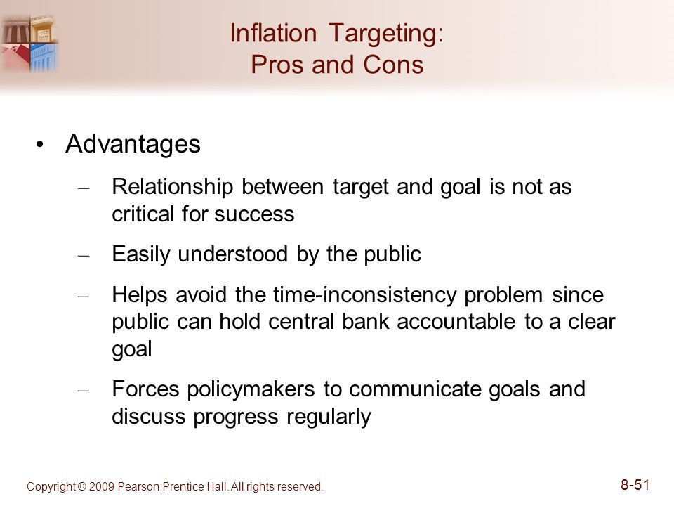 inflation targeting advantages and disadvantages Inflation targeting is a central banking policy that revolves around meeting preset, publicly displayed targets for the annual rate of inflation the benchmark used for inflation targeting is.
