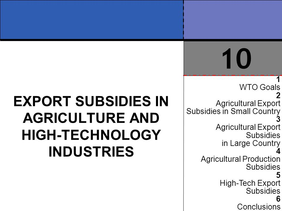 export subsidies Subsidies are cash grants or loans that the government gives to encourages activities it wishes to promote these include oil, farming, and obamacare.