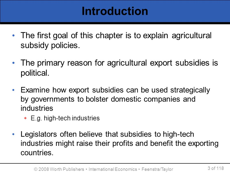 an introduction to farm subsidies All this week on table talk, we are discussing government support and subsidies amidst recent news on additional nsw drought funding support package as well as trump's $12b package of emergency aid for farmers hit by trade tariffs, we thought it might be a good time to discuss and unpack the topic agricultural support and [].