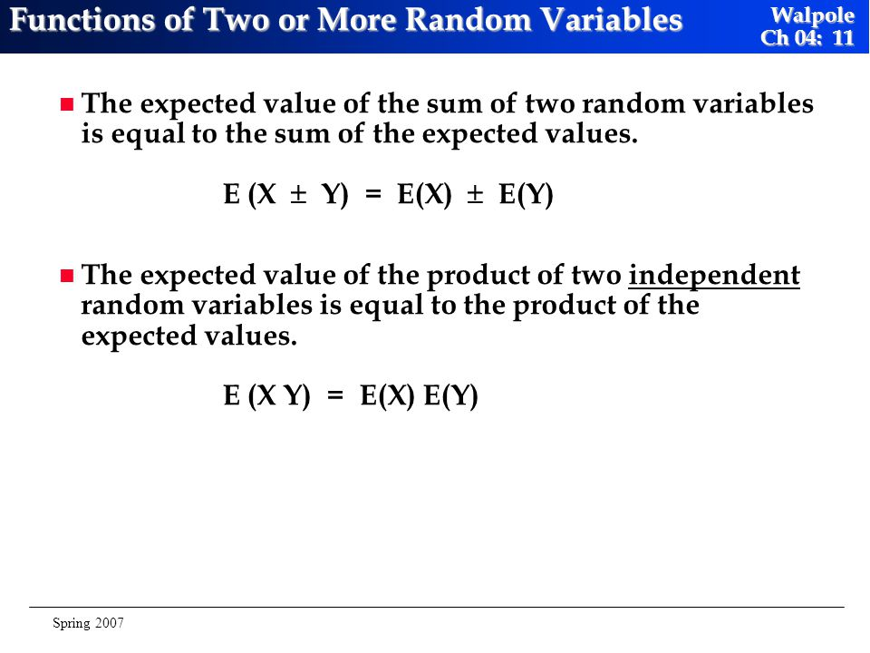 Functions of Two or More Random Variables