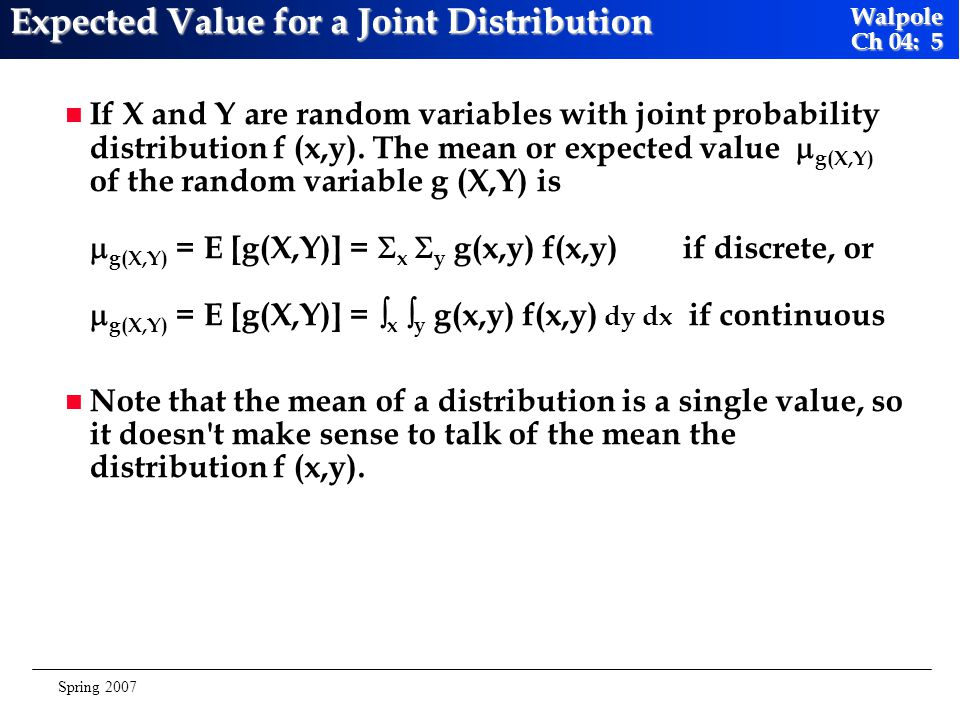 Expected Value for a Joint Distribution