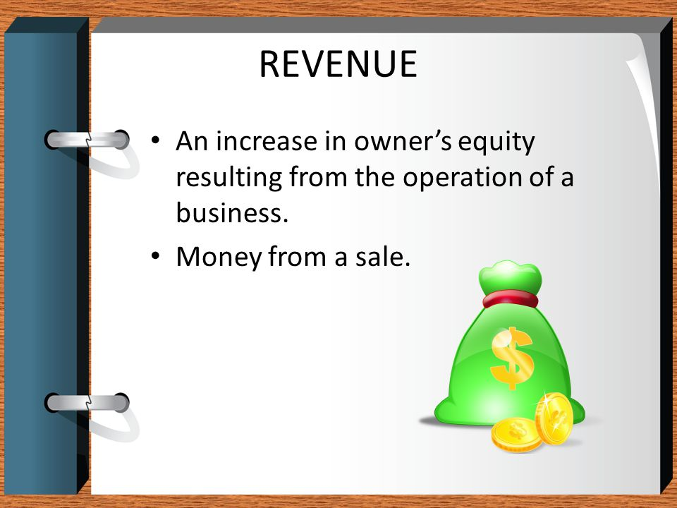 REVENUE An increase in owner's equity resulting from the operation of a business.