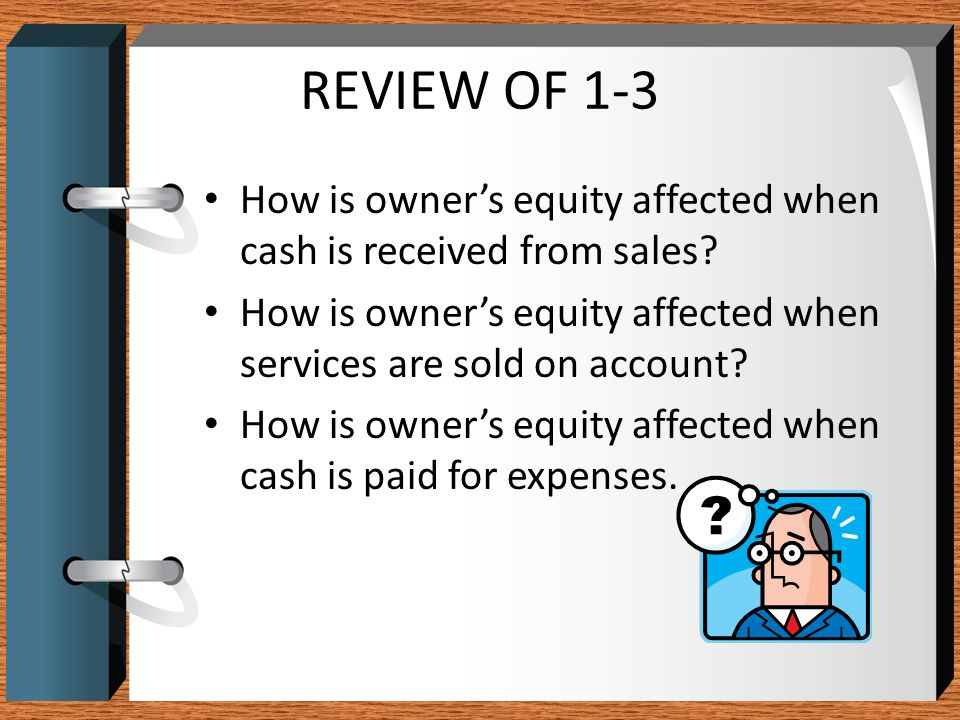 REVIEW OF 1-3 How is owner's equity affected when cash is received from sales How is owner's equity affected when services are sold on account