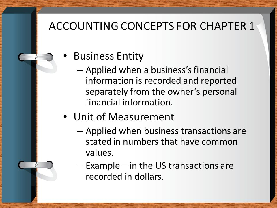 ACCOUNTING CONCEPTS FOR CHAPTER 1