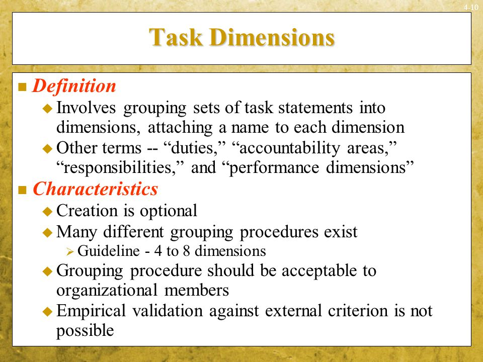 Task Dimensions Definition Characteristics